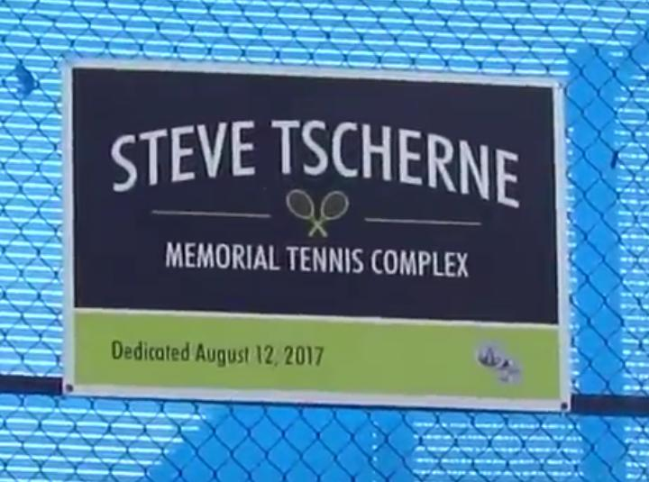 Plaque dedicating the tennis court complex at El Cariso Park in honor of Coach Steve Tscherne, August 12, 2017.